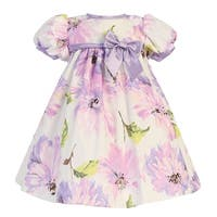 Baby Girls Lilac Short Sleeve Floral Cotton Print Easter Dress 0-24M