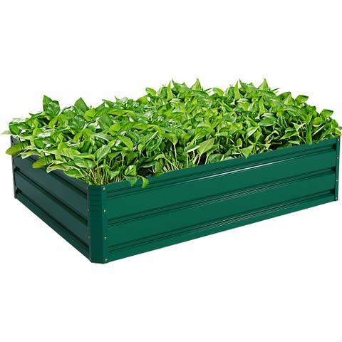 "Costway 47""x35.5"" Patio Raised Garden Bed Vegetable Flower Plant Dark"