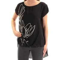 VINCE CAMUTO Womens Black Printed Cap Sleeve Jewel Neck Top  Size: XS