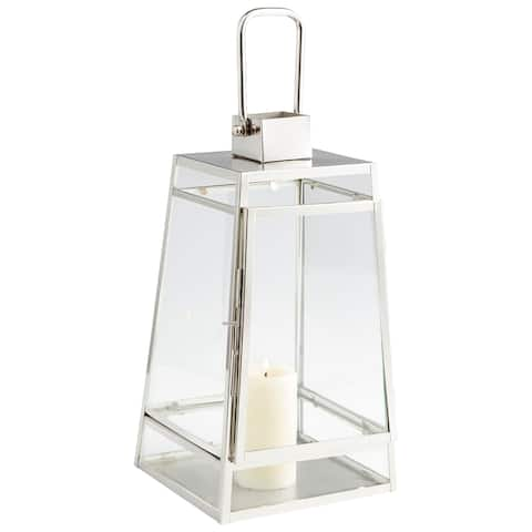 Cyan Design 09745 Paulus Glass and Stainless Steel Lantern Candle Holder - Nickel