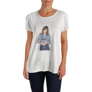 Alexa Chung for AG Womens Feminist Graphic T-Shirt