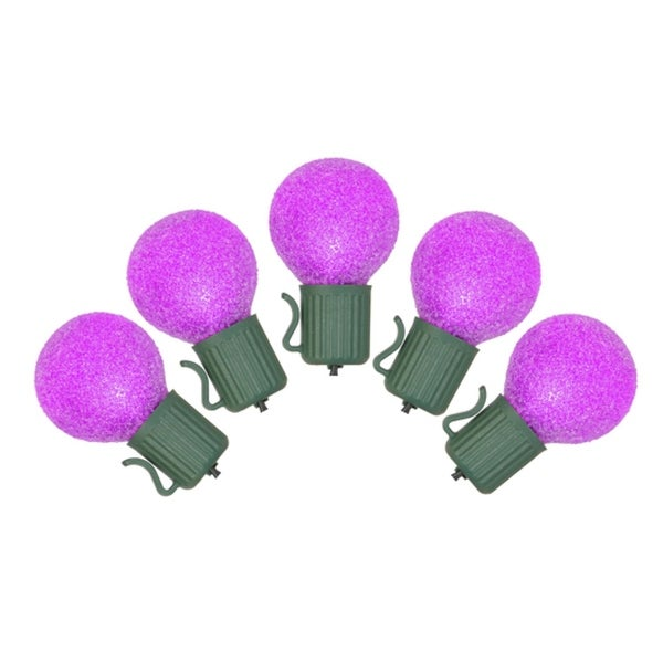 Set of 10 Battery Operated Sugared Purple LED G30 Christmas Lights - Green Wire