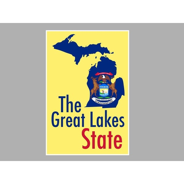 Shop Michigan The Great Lakes State State Map Flag Posters Matte