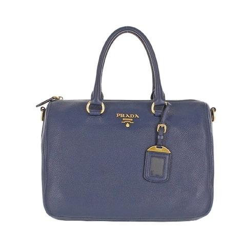Prada Women's Leather Bauletto Navy Baltico Vitello Phenix Handbag 1BB023
