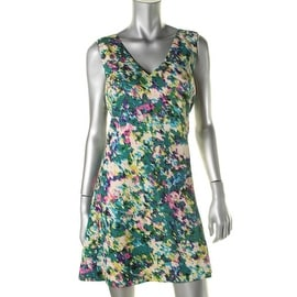 Tracy Reese Womens Fly Back Open Back Printed Wear to Work Dress