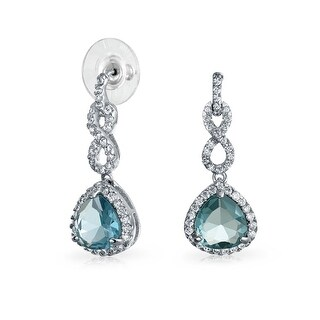 Bling Jewelry Infinity Light Blue CZ Earrings Rhodium Plated Brass