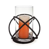 Danyab KF219 Large Metal and Glass Orbits Hurricane Candleholder