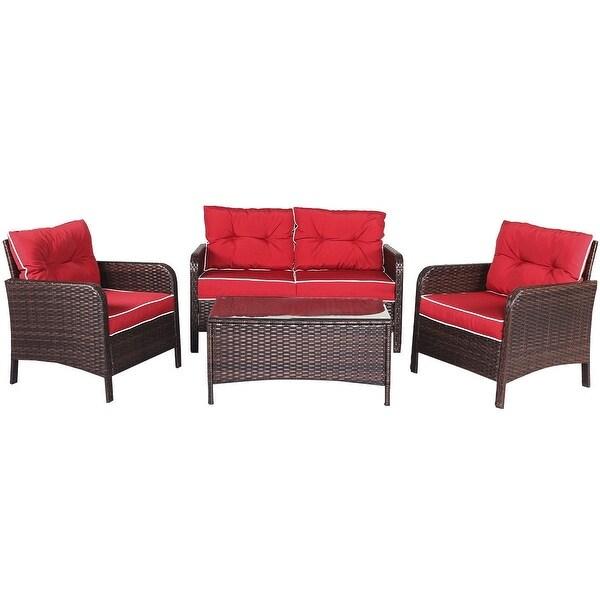 4 pcs Outdoor Rattan Wicker Loveseat Furniture Set w/ Cushions-Red