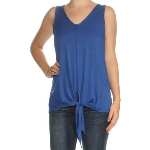 KAREN KANE Womens Blue Tie Sleeveless V Neck Top Size: M