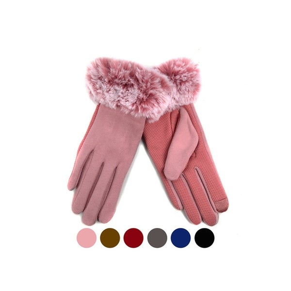 Women's Faux-Fur Cuff touch Screen Gloves with Non Slip Grip & Fleece Lining. Opens flyout.