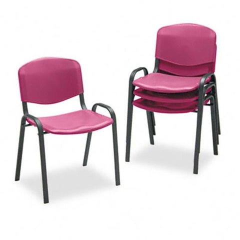 Safco Contour Stacking Chairs- Burgundy with Black Frame- 4/Carton
