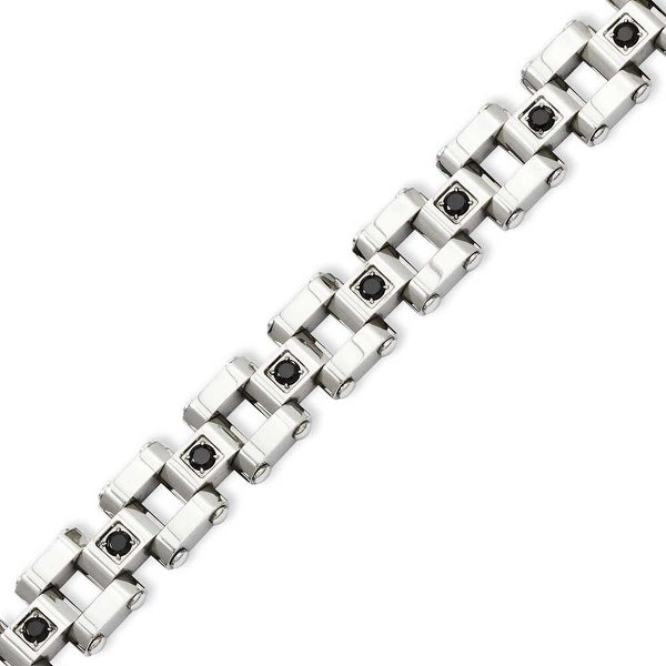 Stainless Steel Polished & Black Diamonds 8.5in Bracelet