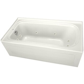 """PROFLO PFW6036ALSK 60"""" x 36"""" Alcove 8 Jet Whirlpool Bath Tub with Skirt, Left Hand Drain and Left Hand Pump - N/A"""