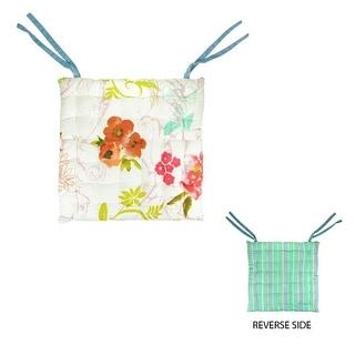 """16"""" L'Eau de Fleur Reversible Vera Bouquet Colorful Chair Cushion with Ties"""