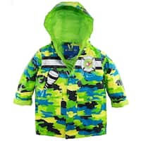 Wippette Baby Boys Waterproof Hooded Camo with Rescue Chopper Raincoat Jacket