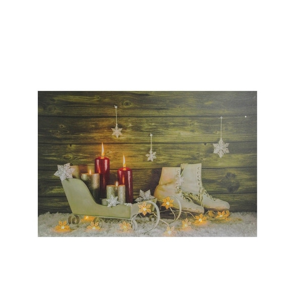 """Small LED Lighted Candles, Ice Skates and Sleigh Christmas Canvas Wall Art 12"""" x 15.75"""" - N/A"""