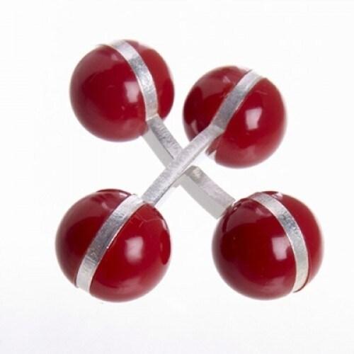 Double Ball Cufflinks Red