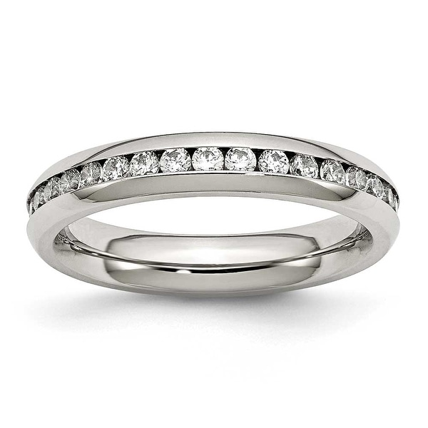 Stainless Steel 4mm April Clear CZ Ring