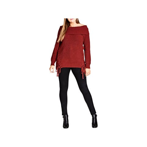City Chic Womens Plus Pullover Sweater Off-The-Shoulder Lace-Up