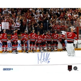 Martin Brodeur Signed final game with Career/Retirement logo 16x20 Photo ()