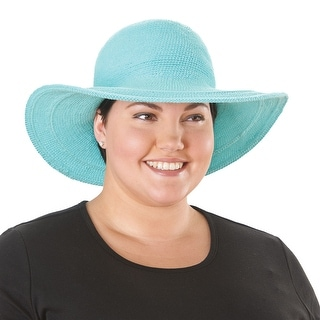 Women's Crochet Wide Brim Sun Hat in Cotton with UPF 50+ - One Size