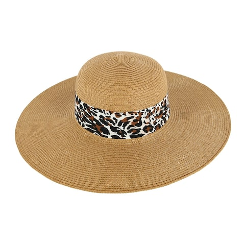 David & Young Women's Floppy Hat with Leopard Print Band