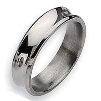 Chisel Concave Beveled Edge Polished Titanium Ring (6.0 mm)