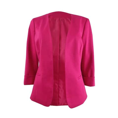 Kasper Women's Plus Size Collarless 3/4-Sleeve Blazer - Lipstick