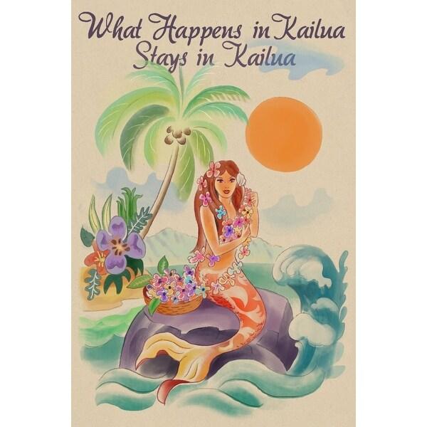 Kailua, Hawaii - What Happens in Kailua, Stays in Kailua - Tropical Mermaid  - Lantern Press (Art Print - Multiple Sizes Availabl