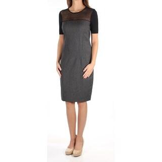Womens Gray Black Short Sleeve Knee Length Sheath Wear To Work Dress Size: 2
