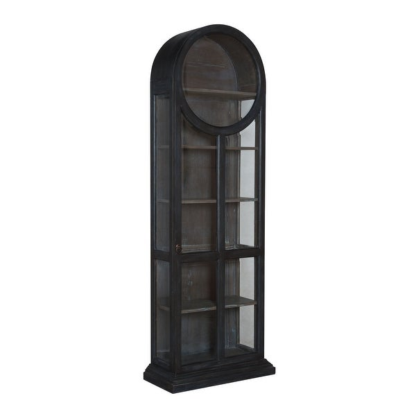 """Elk Home 623501 Round Top 30"""" Wide Hand Carved Mahogany Accent Cabinet - Heritage Dark Gray Stain"""