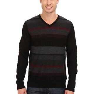 Calvin Klein CK Merino Acrylic Plaited Striped V-Neck Sweater XXL 2XL Black