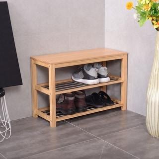 Costway 3-Tier Wooden Shoe Storage Bench Racks Shelf Organizer Entryway Hallway - as pic