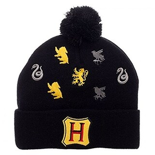 Harry Potter Hogwarts Houses Embroidered Logos Pom Beanie - multi