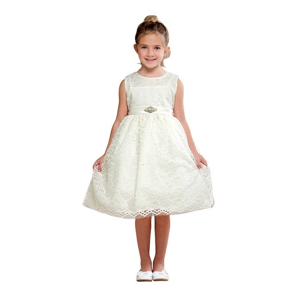 70ebcc67f97 Shop Crayon Kids Girls Ivory Embroidered Brooch Flower Girl Dress - Free  Shipping Today - Overstock.com - 18165347