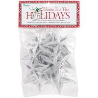 "Glitter Star Ornaments 2"" 12/Pkg-Silver"