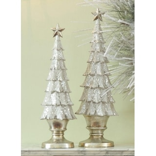 Set of 2 Gold Glittered Holly Leaf Table Top Christmas Tree Decorations