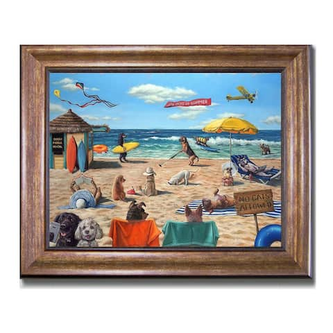 Dog Beach by Lucia Heffernan Bronze-Gold Framed Canvas Art (22 in x 28 in Framed Size)