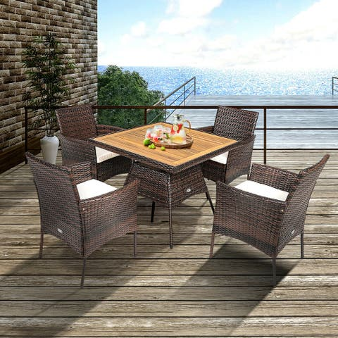 Gymax 5PCS Patio Dining Table & Chair Set Outdoor Furniture Set w/ 4