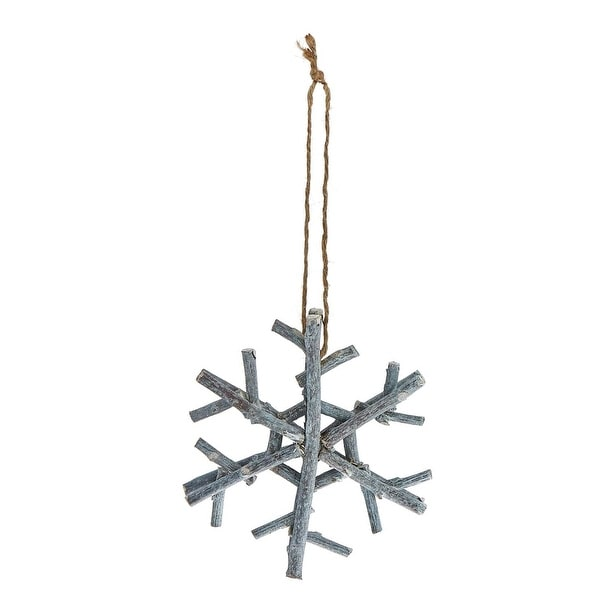 Pack of 4 Handmade Country Rustic Gray Glitter Twig Snowflake Christmas Ornaments 6""