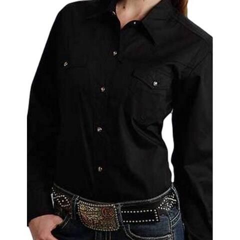 Roper Western Shirt Womens L/S Solid Poplin Black