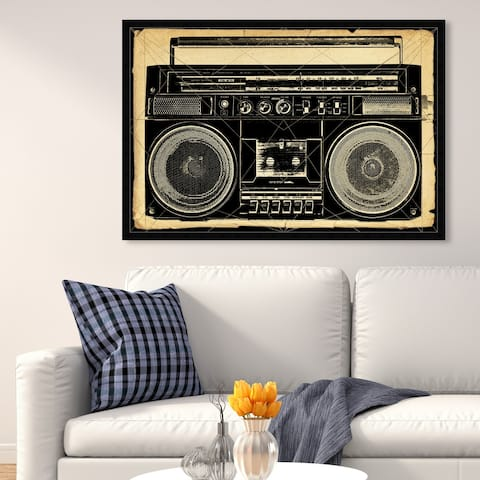 Oliver Gal 'Ghetto Blaster Print' Music and Dance Wall Art Framed Print DJ - Black, White