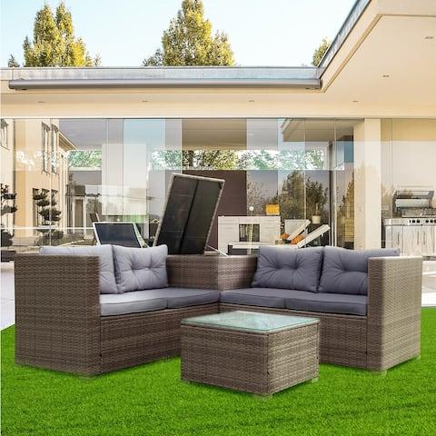 Nestfair 4 Piece Patio Sectional Wicker Rattan Outdoor Furniture Sofa Set