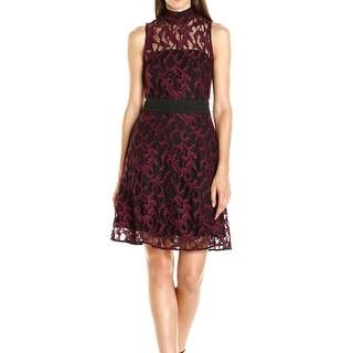 Rachel Roy NEW Red Women's Size 8 Mock Neck Flare Lace Sheath Dress