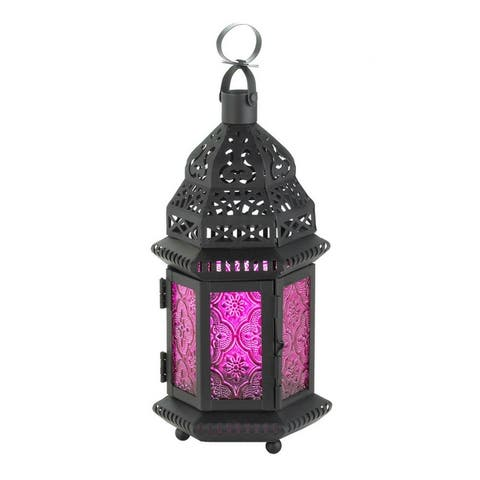 Decorative Etched Glass Moroccan Style Hanging Candle Lantern