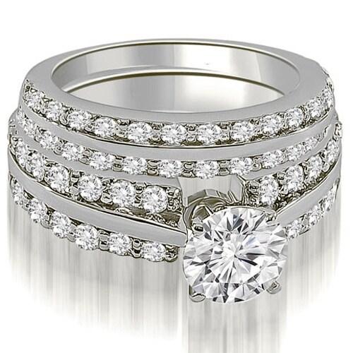 2.85 cttw. 14K White Gold Two Row Round Cut Diamond Bridal Set