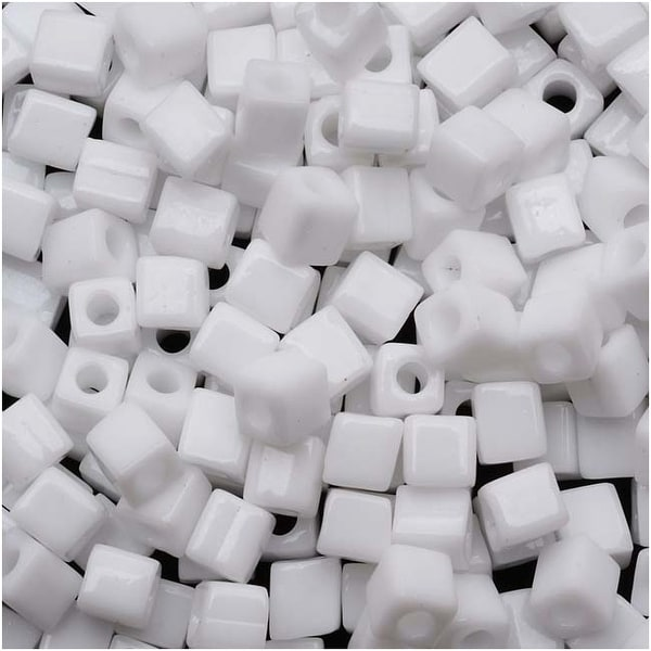 Miyuki 4mm Glass Cube Beads Opaque White 402 10 Grams