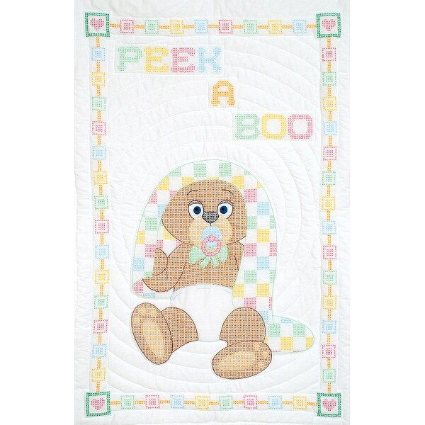 "Stamped White Quilt Crib Top 40""X60""-Peek A Boo"
