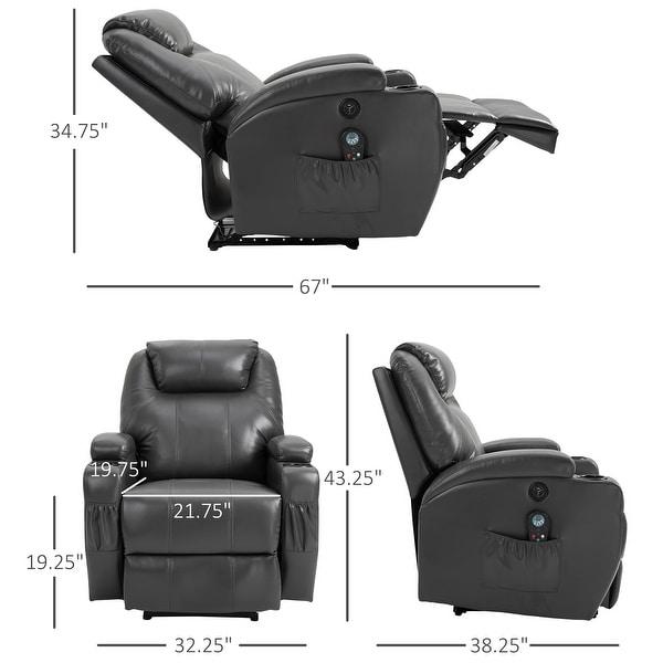 HOMCOM Electric Power Reclining Massage Sofa PU leather w/ 8-Point Vibration Waist Heating Side Storage USB Port, Dark Grey