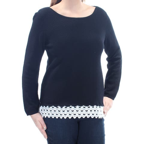CHARTER CLUB Womens Black Embroidered Textured Long Sleeve Jewel Neck Top Size: L